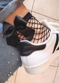 Fishnet Ankle Socks, Fishnet Leggings, Lace Socks, Gothic Outfits, Fashion Socks, Chanel, Look Cool, Large Black, Street Chic