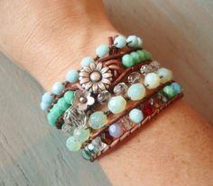 Boho leather wrap bracelet Country Girl Shabby chic by slashKnots