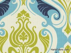 Blue French Scallop Outdoor Fabric