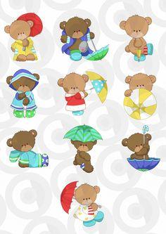 Ursinho dia de chuva Bear Cartoon, Cute Cartoon, Cartoon Drawings, Animal Drawings, Baby Clip Art, Cute Clipart, Cute Backgrounds, Cute Bears, Baby Patterns