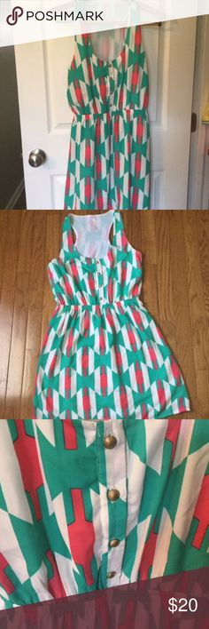 Cute My Story Beachy Romper Style Mini Dress M This cute dress is very colorful and pretty. It is lined and has gold buttons down the front with an elastic waist. Would look cute with a pair of white sandals! Comes from a clean, smokefre home. Bundle and save! My Story Dresses Mini