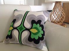 "Retro Pillows Urban Floral Style Cushions ""Groovy Baby"" Design Grey Green Black Yellow Linen look Cotton Cushions. Modern designer cushion. by MyBeachsideStyle on Etsy https://www.etsy.com/au/listing/157320790/retro-pillows-urban-floral-style"
