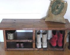 Tall Rustic Bench Entryway Hallway Mudroom Storage by DunnesWoods