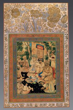 Group of sages in discussion (Date: 1650 Place: Isfahan, Iran Materials: Opaque watercolour, ink, paper)