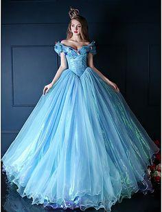 Cinderella Dress Ball Gown V-neck Chapel Train Organza/Tulle/Charmeuse Dress – USD $ 284.99