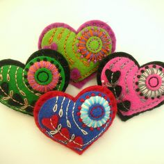 HEART FELT BROOCHES FOR MOTHERS DAY! by APPLIQUE-designedbyjane, via Flickr
