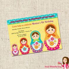 PRINTABLE Matryoshka Doll Party Invitation by yourblissfulday, $10.00