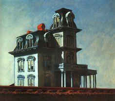 "Composición al óleo de Hopper, obra titulada ""Casa Junto al Riel"", pintada en 1925."