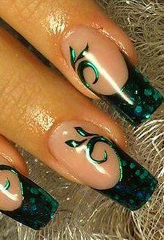 Dark Green nail art. That will match my dress