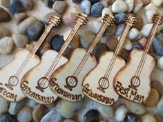 Rustic Wedding Decoration Boutonniere Alternative Groom's Pins - SET of 7 Guitar Lapel Pins Best Man Groom & Groomsman Country Wedding
