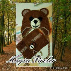 Bear crochet hat, set Ursulet, caciula si fular circular