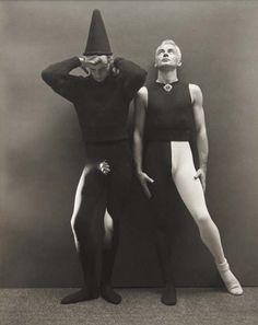 chadmsirois: George Platt Lynes (American, 1907-1955), Self-Portrait in Harlequin Costume with Bill Miller, 1945