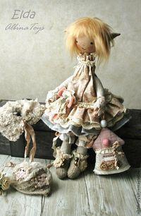 Текстильная кукла домовая эльфочка Эльда в бохо стиле.