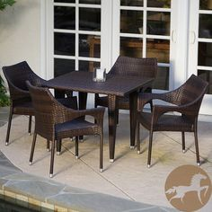 @Overstock.com - Christopher Knight Home Cliff 5-piece Outdoor Dining Set - Create a sophisticated space for entertaining with this five-piece outdoor dining set from Christopher Knight Home. Crafted of tightly-woven synthetic wicker, this set features four stacking arm chairs and a square table in a rich brown color.  http://www.overstock.com/Home-Garden/Christopher-Knight-Home-Cliff-5-piece-Outdoor-Dining-Set/7820769/product.html?CID=214117 $680.39