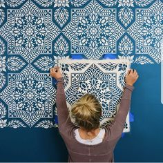 This large stencil pattern makes a great accent wall with ties to Portuguese and Spanish azulejos tiles. Tile wallpaper patterns for DIY home decor Large Wall Stencil, Stencil Painting On Walls, Diy Wall Painting, Stencils For Walls, Painting Designs On Walls, Paint Stencils, Furniture Stencil, Wall Art, Bedroom Wallpaper Accent Wall