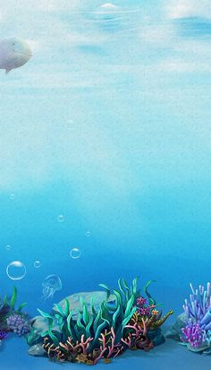 Underwater world poster background Underwater Party, Underwater Painting, Underwater World, Dream Background, Paper Background, Background Images, Fashion Background, Cool Pictures For Wallpaper, Ocean Drawing