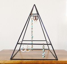Welded Pyramid Jewelry Display in Black by RagNBoneVintage on Etsy