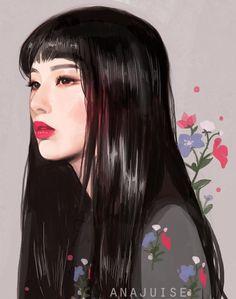 I drew Seulgi bc she's so very beautiful and I love her so much (swipe for the process video . Digital Art Girl, Digital Portrait, Portrait Art, Kpop Drawings, Cute Drawings, Red Velvet Seulgi, Wow Art, Kpop Fanart, Anime Art Girl