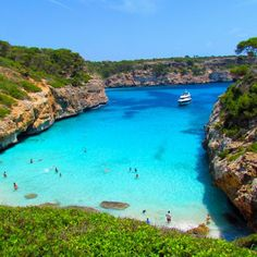 To Visit my cousin in Spain! Calo des Moro Beach in Mallorca, Spain Vacation Places, Vacation Destinations, Dream Vacations, Places To Travel, Romantic Vacations, Beach Vacations, Romantic Getaway, Beach Hotels, Beach Travel
