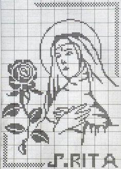 Learn to knit and Crochet with Jeanette: Filet Cross Stitch Pattern Maker, Just Cross Stitch, Cross Stitch Borders, Simple Cross Stitch, Cross Stitch Designs, Cross Stitching, Cross Stitch Embroidery, Cross Stitch Patterns, Sainte Rita