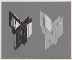 """Peter Eisenman. House VI, Fourteen Transformations (axonometric) 1972-1975. Zipatone and laminated colored paper with ink on paper, 193/4 x 237/8"""" via MoMA"""