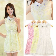 Fashion Women Summer Sleeveless Casual Dress Clothes Elegant Bright Drill Zipper Hollow Out Floral Dresses