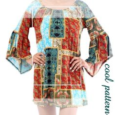 FUNKY PATTERN BELL SLEEVE TOP This is such a neat pattern, I just had to offer it!  Elastic neckline that can be worn on or off shoulders. Pretty bell sleeves, very soft. 92% polyester/8% spandex. Measurements coming. PLEASE DO NOT BUY THIS LISTING, I will personalize one for you. tla2 Tops Tunics