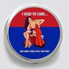 Pinup Art Humor Silver-Tone Metal  Pill Box with  Black Pouch #5734