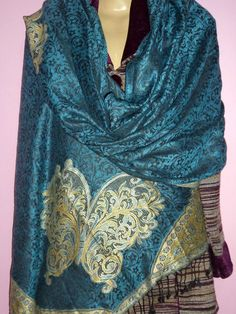 INDIAN REVERSIBLE PURE WOOL SHAWL STOLE SCARF CASHMER KASHMIR HAND EMBROIDERY #Handmade #Stole
