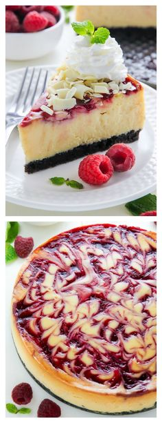 Even better than the ones from the bakery! White Chocolate Raspberry Cheesecake - Creamy white chocolate cheesecake swirled with raspberry on top of a homemade Oreo cookie crust! Cheesecake Cookies, Cheesecake Recipes, Dessert Recipes, Brownie Cheesecake, Homemade Oreo Cookies, Homemade Chocolate, Chocolate Cake, White Chocolate Raspberry Cheesecake, White Chocolate Desserts