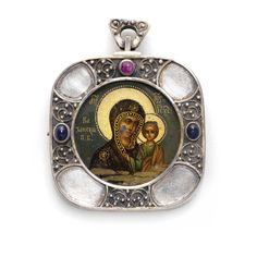 A Fabergé silver and jewelled Icon pendant, Moscow, Faberge Jewelry, Byzantine Icons, Historical Artifacts, Religious Icons, Russian Art, Christian Art, Antique Jewelry, Pendants, Antiques