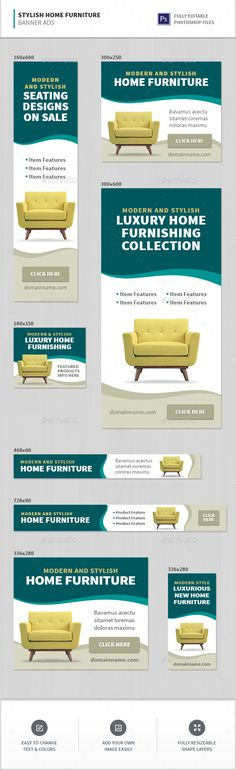 Stylish Furniture Banner Ads Template PSD. Download here: http://graphicriver.net/item/stylish-furniture-banner-ads/16300272?ref=ksioks