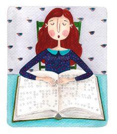 Leyendo en braille, leyendo con el tacto (ilustración de Andrea Kürti)