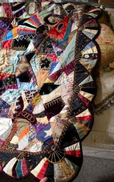 1880-CRAZY-QUILT-JEWEL-COLORED-SILK-amp-SUMPTUOUS-FABRIC-EMBROIDERIES-SCALLOP-EDGE