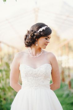 side chignon with headband