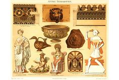 """Ancient Terracotta, C. 1880 -""""Hand-pulled lithograph with vibrant color and exact register of antique terracotta ceramics circa 1880. """""""