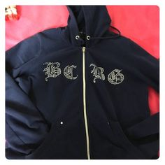 SALE BCBG navy zip up hoodie Cotton blend, zip up, sequined BCBGeneration Jackets & Coats