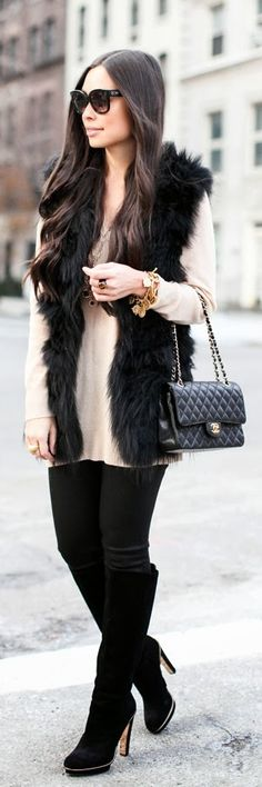 Soooo into the faux fur vest right now!!!