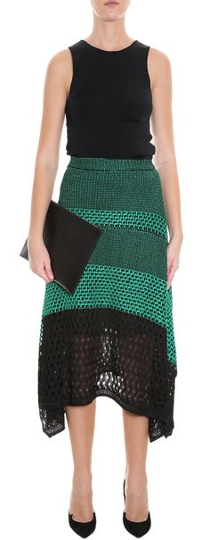 proenza-schouler-green-mesh-lace-skirt