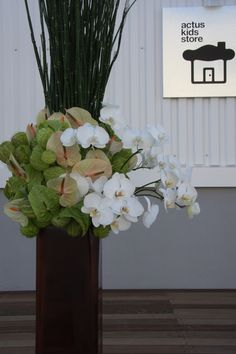 Anthurium with orchids