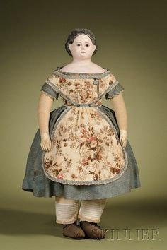 126: Papier-mache Doll with Open Mouth, Germany, c. 184 : Lot 126