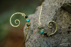 Upper Arm Bangle in Recycled Brass Turquoise by FullSpiral on Etsy
