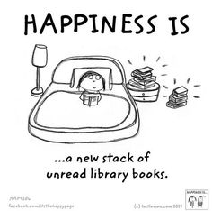Happiness is... free books at the library!!!