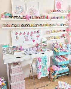 12 Drool Worthy Craft Room Ideas That Will Make You Drool - Craftsonfire 12 Drool Worthy Craft Room Study Room Decor, Craft Room Decor, Cute Room Decor, Craft Room Storage, Room Organization, Cricut Craft Room, Storage Ideas, Kid Decor, Kitchen Storage