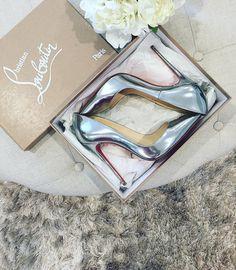 metallic silver pumps Christian Louboutin shoes