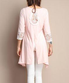 Look at this #zulilyfind! Blush Lace-Panel Teardrop-Back Tunic #zulilyfinds