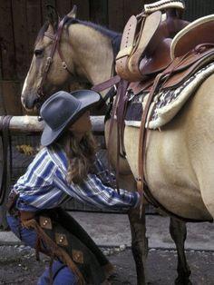 Wrangler Saddles Horse at Boulder River Ranch, Montana, USA