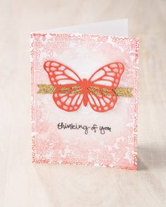The new Butterfly thinlits are simply amazing. We also love the Something Lacy background stamp used on the base of this beautiful card. Stampin' Up! Bee Cards, Thanks Card, Embossed Cards, Get Well Cards, Butterfly Cards, Pretty Cards, Card Sketches, Greeting Cards Handmade, Homemade Cards