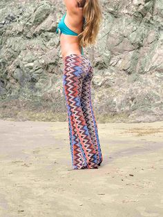 CHEVRON VERTICAL STRIPE  70's retro  bohemian chic dance beach resort yoga festival burning man gypsy fashion flare bell bottoms on Etsy, $62.00