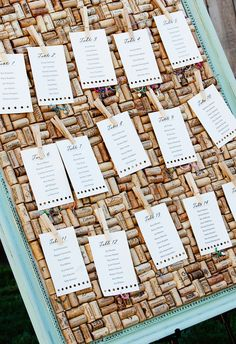 Turquoise blue, winery wedding, cork board // Carol Olivia Photography